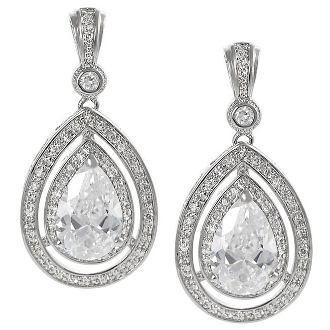 Journee Silvertone Cubic Zirconia Teardrop Dangle Earrings