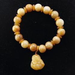 Yellow Jade Happy Buddha Stretch Charm Bracelet (China)