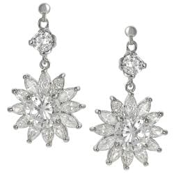 Tressa Silvertone Cubic Zirconia Flower Dangle Earrings