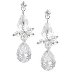 Tressa Silvertone Cubic Zirconia and Crystal Dangle Earrings