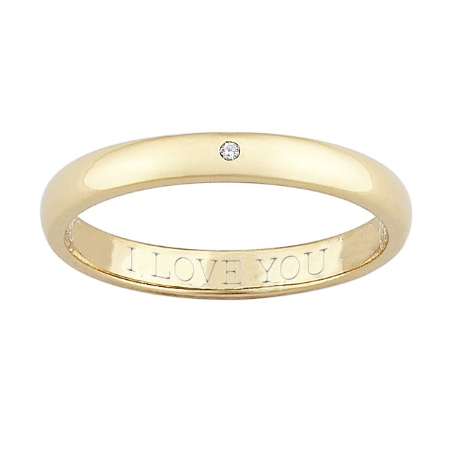 14k Gold over Silver Diamond Accent 'I Love You' Band