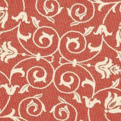 Safavieh Indoor/ Outdoor Polypropylene Red/ Natural Rug (5'3 Round)