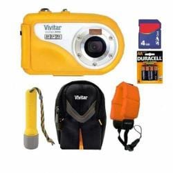 Vivitar Vivicam V8400 8.1MP Yellow Underwater Digital Camera with 4GB Kit