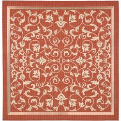 Safavieh Red/ Natural Indoor Outdoor Rug (7'10 Square)