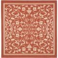 Red/ Natural Indoor Outdoor Rug (7'10 Square)