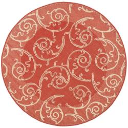 Safavieh Red/ Natural Indoor Outdoor Rug (5'3 Round)