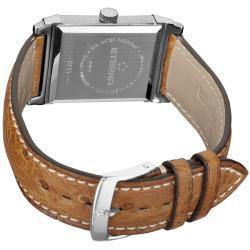 Eterna Men's 'Historique' Blue Dial Brown Leather Strap Quartz Watch