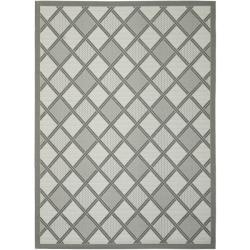"""Light Grey/Dark Grey Indoor/Outdoor Geometric Rug (6'7"""" x 9'6"""")"""