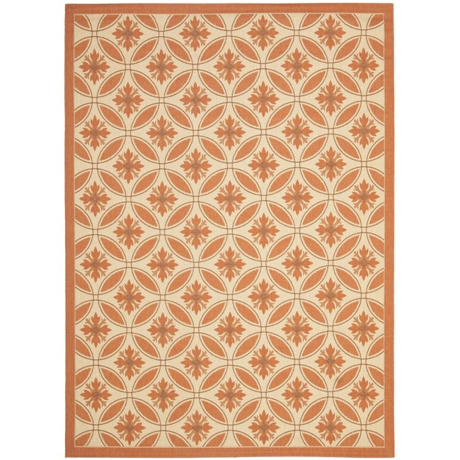 Safavieh Cream/ Terracotta Indoor Outdoor Rug (8' x 11'2)