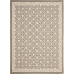 "Dark Beige/Beige Indoor/Outdoor Polypropylene Rug (6'7"" x 9'6"")"