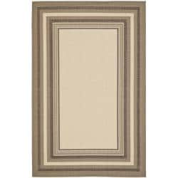"Beige/ Dark-Beige Geometric Indoor/ Outdoor Polypropylene Rug (4' x 5'7"")"
