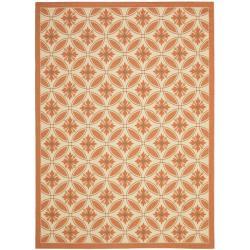Safavieh Cream/ Terracotta Indoor Outdoor Rug (8' x 11'2)