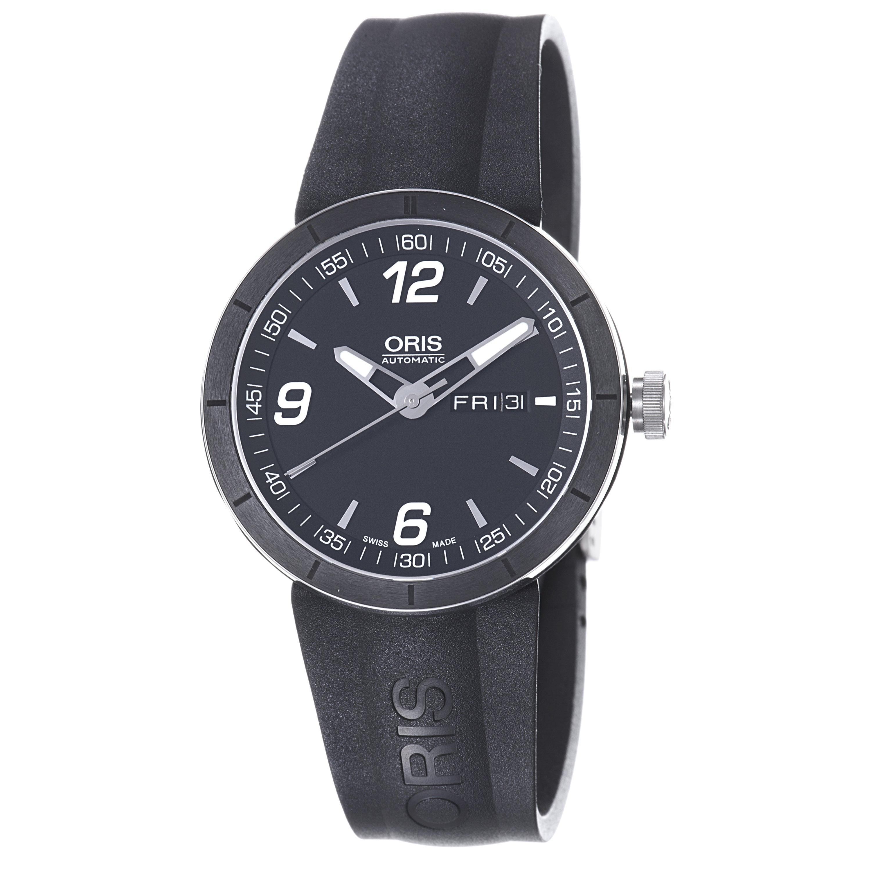 Oris Men's 'TT1' Black Dial Black Rubber Strap Automatic Watch