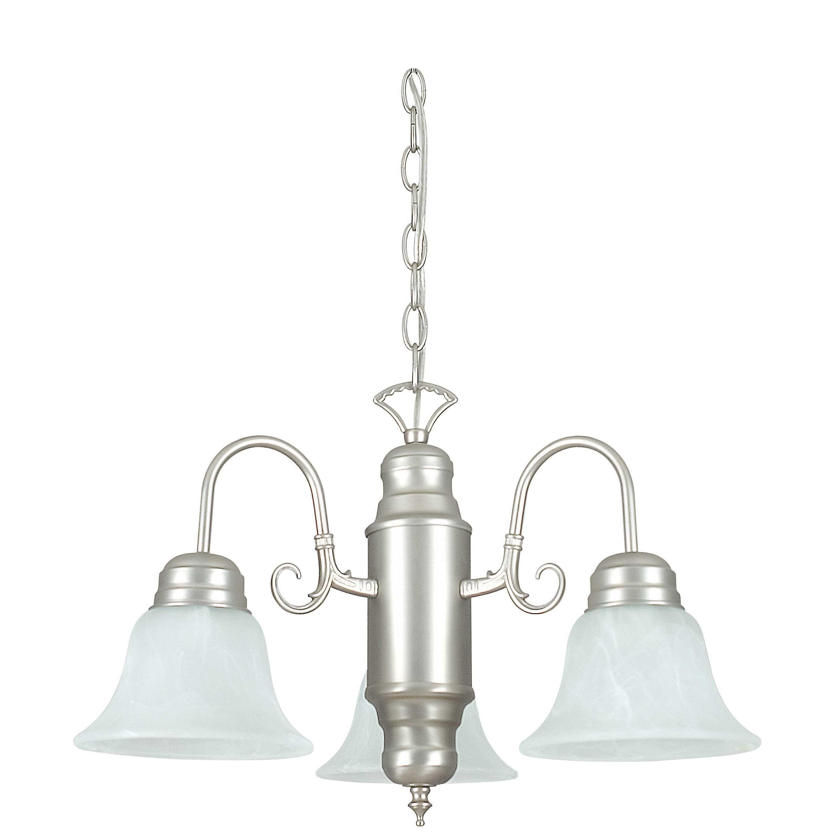 Brushed Nickel 3-light Faux Alabaster Glass Chandelier