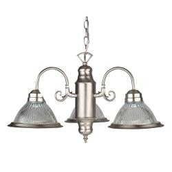 Brushed Nickel 3-light Clear Ribbed  Glass Bistro Chandelier