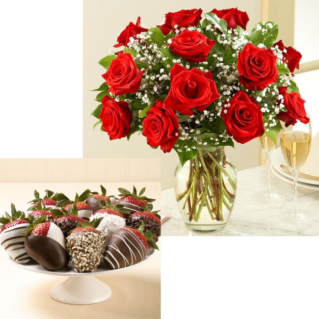 (Pre-Order Valentine's Day) Pro Flowers One Dozen Red Roses with 12 Hand-Dipped Strawberries