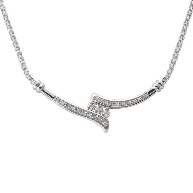 Sterling Silver 1/4ct TDW Diamond Bypass Necklace (J-K, I3)