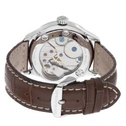 Zeno Men's 'Godat' Ivory Dial Brown Leather Strap Automatic Watch