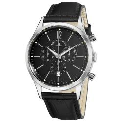 Zeno Men's 'Event' Black Dial Black Leather Strap Quartz Watch