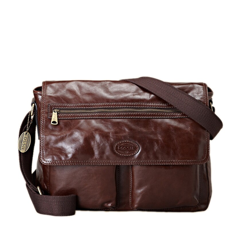 Fossil 'Transit' Brown Leather Messenger Bag