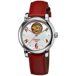 Tissot Women's 'Lady Heart' Mother of Pearl Dial Red Strap Watch