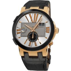 Ulysse Nardin Men's Dual Time Rose Gold Black Leather Strap Watch