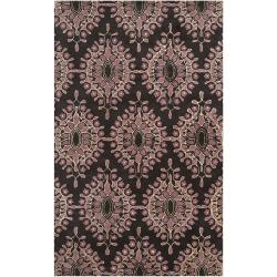 Bob Mackie Hand-tufted Contemporary Dark Brown Mazda New Zealand Wool Medallion Rug (8' x 11')