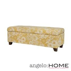 angelo:HOME Kent Vintage Sun-washed Floral Tan Wall Hugger Trunk Storage Ottoman
