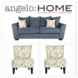 angelo:HOME Cooper Twill Blue Stone 3 Piece Pillow Back Sofa Collection