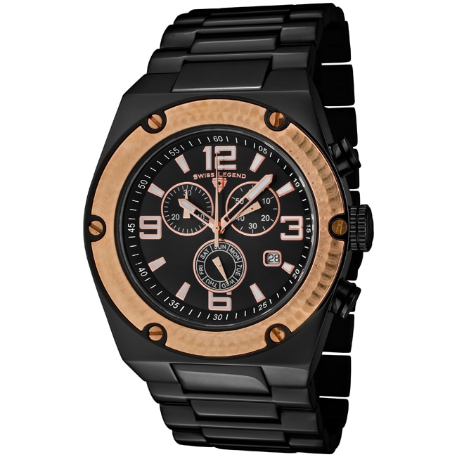 Swiss Legend Men's 'Throttle' Black Ion-Plated SS Chronograph Watch