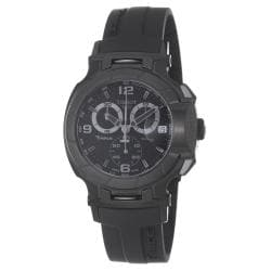 Tissot Men's 'T-Race' Black Chronograph Dial Black Rubber Strap Watch