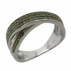D'sire 10k White Gold 3/8ct TDW Green Diamond Fashion Ring