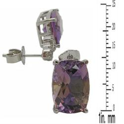 D'sire 10k Gold Ametrine and 1/4ct TDW Diamond Earrings (H-I, VS1-VS2)