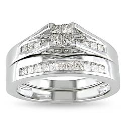 Miadora 10k Gold 1/2ct TDW Princess Diamond Bridal Ring Set (G-H, I2-I3)