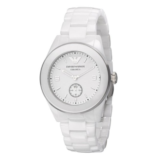 Emporio Armani Women's White Dial Ceramic Watch