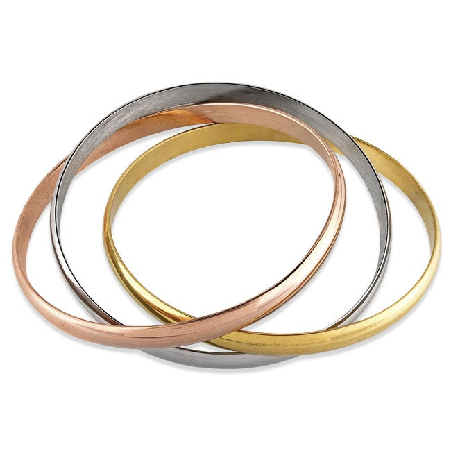 Miadora Tri-color Stainless Steel Stackable 3-piece Bangle Bracelet