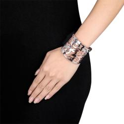 Miadora Stainless Steel White and Pink-plated Cuff Bracelet