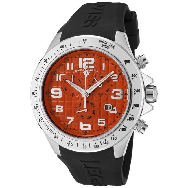 Swiss Legend Men's 'Eograph' Orange Dial Black Silicone Chrono Watch