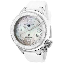 Swiss Legend 'Neptune' Ceramic White MOP Dial White Silicon Watch