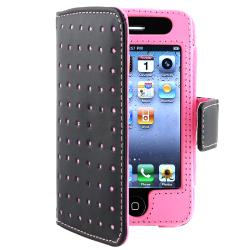 Black/ Pink Dot Wallet Leather Case for Apple iPhone 4/ 4S