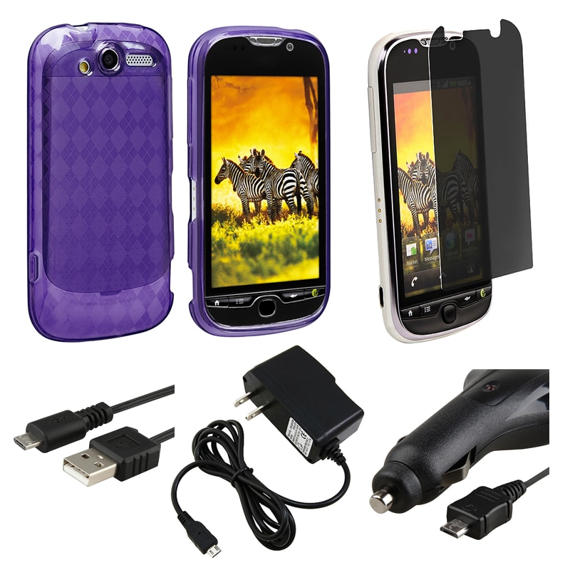 Purple Argyle Case/ LCD Protector/ Charger/ Cable for HTC myTouch 4G