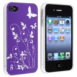 Dark Purple Flower with Butterfly Snap-on Case for Apple iPhone 4/ 4S
