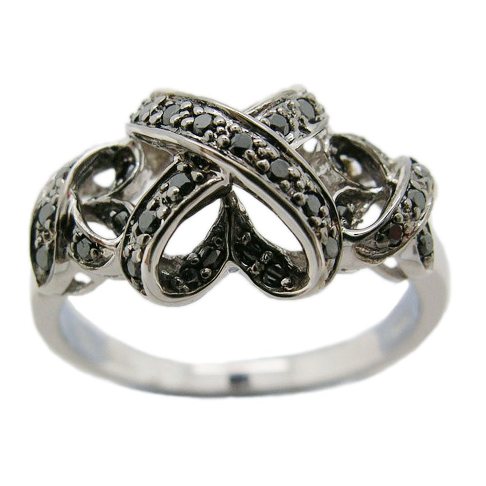 D'sire 10k White Gold 1/5ct TDW Black Diamond Fashion Ring