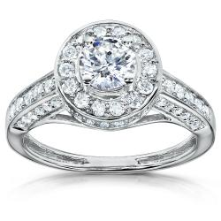 14k Gold 1ct TDW Diamond Halo Engagement Ring (H-I, I1-I2)