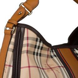 Burberry Signature Haymarket Equestrian Knight Hobo Bag