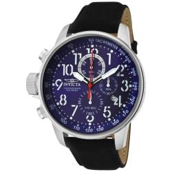 Invicta Men's 'Invicta II' Blue Dial Black Leather Chronograph Watch