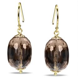 Miadora  Sterling Silver 32ct TGW Smokey Quartz Dangle Earrings