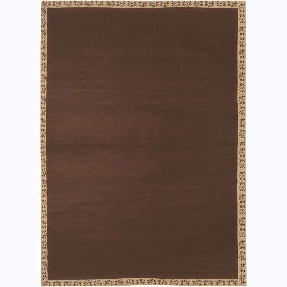 Hand-woven Mandara Brown Border Rug (10' x 10')