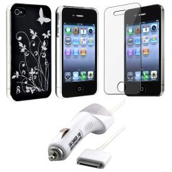 Flower Butterfly Case/ LCD Protector/ Charger for Apple iPhone 4S