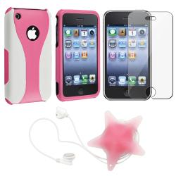 Pink/ White Case/ LCD Protector/ Headset Wrap for Apple iPhone 3GS